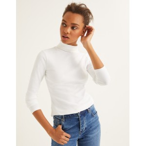 Essential Roll Neck Tee - White