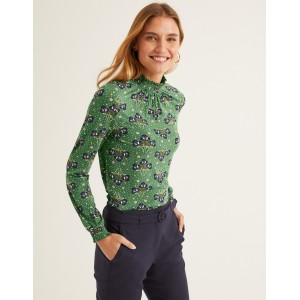 Connie Jersey Top - Broad Bean, Star Bouquet