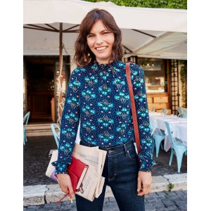 Connie Jersey Top - French Navy, Star Bouquet