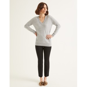 Cashmere Relaxed Vneck Sweater - Grey Melange