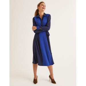 Betty Midi Shirt Dress - French Navy/ Blue Wave