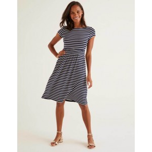 Amelie Jersey Dress - Navy/Ivory Stripe
