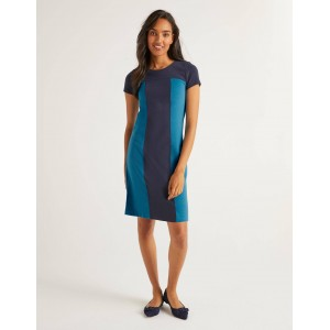 Lizzie Ottoman Dress - Navy / Aegean Blue
