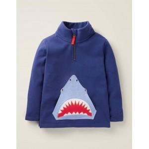 Half-Zip Applique Sweatshirt - College Navy Shark