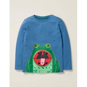Novelty Long Sleeve T-Shirt - Sea Mist Blue Frog
