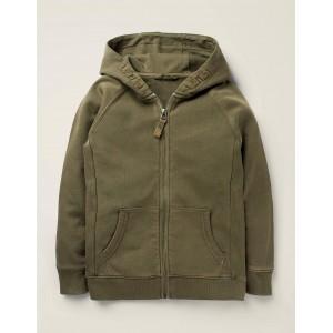 Garment Dye Zip-Up Hoodie - Khaki Green