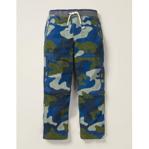 Zip-Off Techno Pants - Bold Blue Camouflage