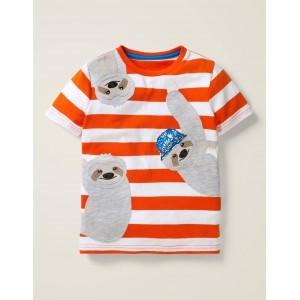 Friendly Applique T-shirt - Mandarin Orange/White Sloths