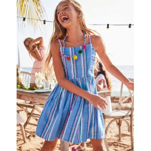 Stripe Woven Dress - Bright Blue/ Pink Lemonade