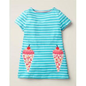 Stripy Applique Pocket Tunic - Corsica Blue/White Ice Creams
