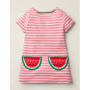 Stripy Applique Pocket Tunic - Pink Lemonade/White Watermelon