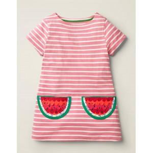 Stripy Applique Pocket Tunic - Pink Lemonade/White Watermelon