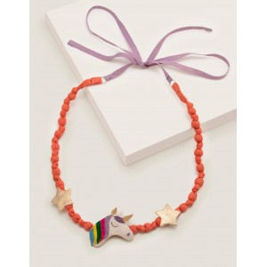 Fabric Necklace - Peach Melba/Ivory Unicorn