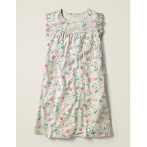 Printed Nightgown - Ivory and Pink Punch Cosmos