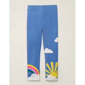 Applique Leggings - Sky Blue Weather