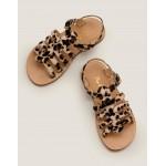 Leather Gladiator Sandals - Tan Leopard