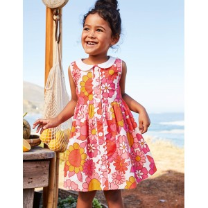 Woven Collared Dress - White and Camelia Pink Floral