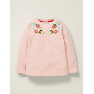 Embroidered Cosy Sweatshirt - Boto Pink Marl