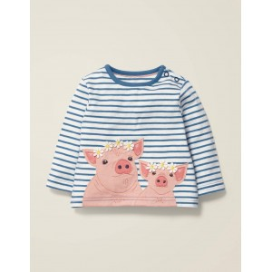 Farm Animal Applique T-Shirt - Ivory/Sky Blue