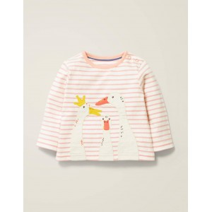 Farm Animal Applique T-Shirt - Boto Pink/Ivory