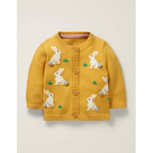 Fun Cardigan - Daffodil Yellow Bunnies