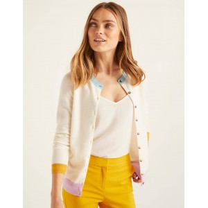Cashmere Crew Cardigan - Ivory Colourblock