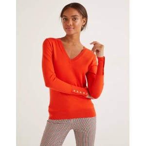Eldon V-Neck Sweater - Orange Sunset