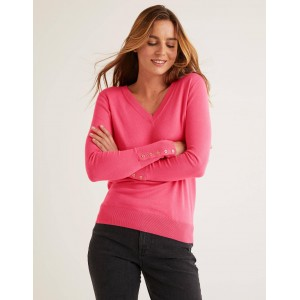 Eldon V-Neck Sweater - Bright Camellia