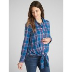 Maternity Flannel Plaid Tie-Front Shirt