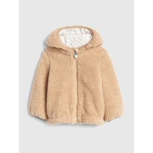 Foil-Dot Sherpa Hoodie Jacket