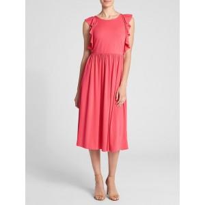 Fit and Flare Midi Ruffle Sleeve Dress
