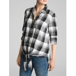 Maternity Plaid Flannel Long Sleeve Tie-Front Shirt