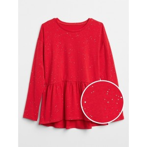Sparkle Peplum Long Sleeve T-Shirt