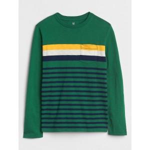Stripe Pocket Long Sleeve T-Shirt