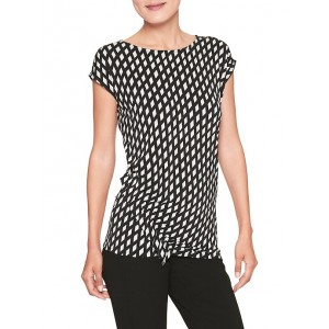 Print Rouched Ruffle Top
