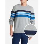Mix-Stripe Crewneck Pullover Sweater