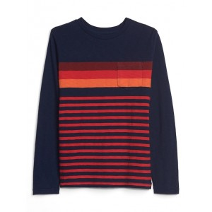 Stripe Pocket Long Sleeve T-Shirt