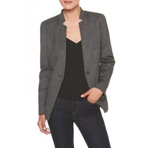 Machine Washable Heathered Ponte Inverted Collar Suit Blazer