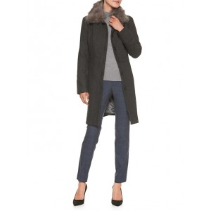 Faux Fur Collar Twill Coat