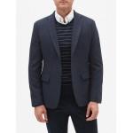 Slim-Fit Navy Wool Blend Blazer