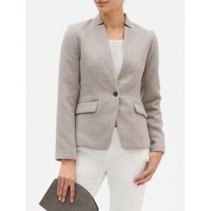 Inverted Collar Double Cloth Cutaway Blazer