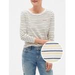 Three-Quarter Sleeve Stripe T-Shirt