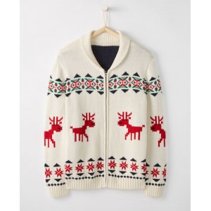 Adult Dear Deer Zippered Sweater In Cotton & Merino