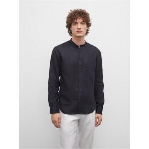 Slim Linen Band-Collar Shirt