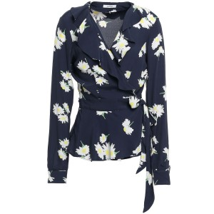 Navy Ruffled floral-print crepe wrap top