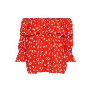 Red Silvery off-the-shoulder ruffled floral-print crepe top