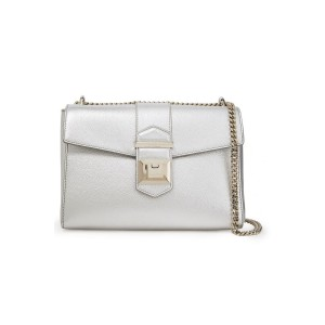 Silver Marianne metallic textured-leather shoulder bag