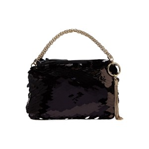 Black Callie sequined tulle clutch