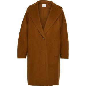 Light brown Wool-blend felt hooded coat
