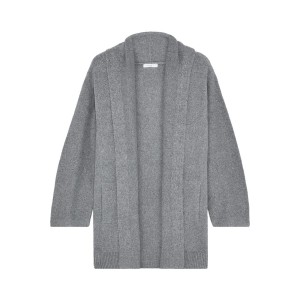 Light gray Melange brushed cotton-blend cardigan